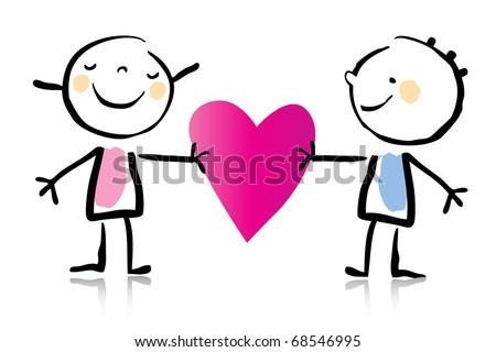 Valentines Day Cartoon Romantic Couple Love Stock Vector Royalty