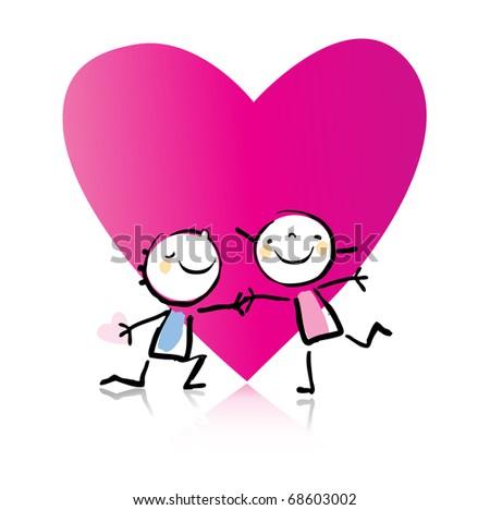 Valentines Day Cartoon Romantic Couple Love Stock Vector Royalty