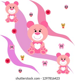 Valentine's Day, cat, bunny, bear, heart,smiley, vector background