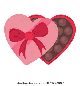 valentines day, chocolate candy heart box romantic design vector illustration