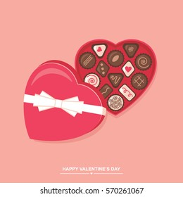 Valentines day chocolate candy heart box vector illustration