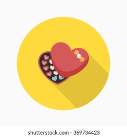 Valentine's Day chocolate icon, Vector flat long shadow design.Fall in love