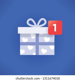 Valentines day or Christmas (New Year) gift icon with new symbol number. Social networking design style. Concept of holiday online shopping, celebration and congratulations, presents, dating, romance.