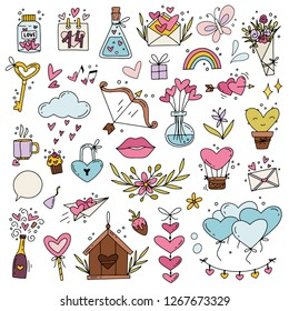 Valentine's Day Clip Art Set of Graphics. Lots of isolated decorative elements. Love theme illustrations. Flowers, hearts, lips, balloons, garlands & other decor for card design. Vector illustration