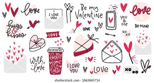 Valentines day clipart with beautiful hand lettering messages about love, candy box, coffee cup, romantic letters and heart clipart vector images.  - Shutterstock ID 1865845714