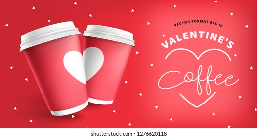 Valentine's Day with coffee paper cup red site banner template. Realistic 3d mockup vector eps 10 design. Couple coffee for lovers on Valentine's Day. Mock up red paper cup with cafe logo.