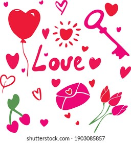 Valentines day collection.Hand drawing doodle vector.Love,romantic,heart isolated set. Valentine vector decoration