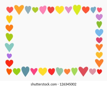 Valentine's day, colorful cute hearts frame. Vector illustration