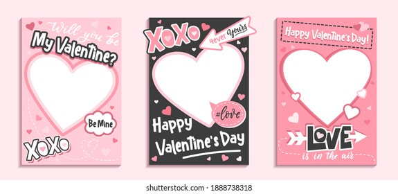 Valentine's Day colorful photo frame and backgrounds with pink hearts and love quotes. Will you be my Valentine printable photo template. Happy Valentine's day photo booth props set. Vector illustration