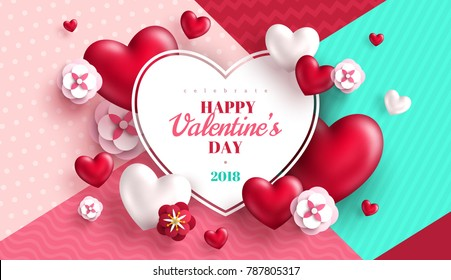 Valentine's day concept background with heart shaped frame. Vector illustration. 3d red hearts and paper cut flowers. Cute love sale banner or greeting card