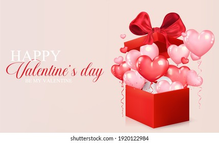 Valentine's day concept background. Realistic heart shaped balloons fly out of red gift box. Romantic design for cover, party, posters, greeting card, promotion banner. Vector illustration