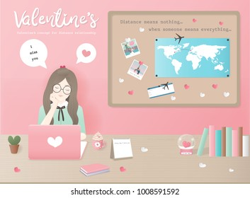 Valentine's day concept for distance relationships with girl chatting with boyfriend, including wold map on board, boarding pass and books, potted cactus. Flat design vector illustration.