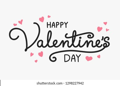 Valentine's Day - concept of a hand written text with decorations. Vector