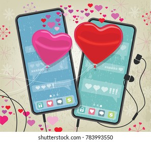 Valentine's Day concept mobile phones texting heart-shaped balloons; retro style stars and hearts with grunge texture background
