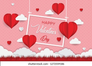 Valentine's day concept, Paper Heart shape balloon floating in the sky. vector illustration