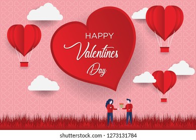 Valentine's day concept, Paper Heart shape balloon floating in the sky. vector illustration.