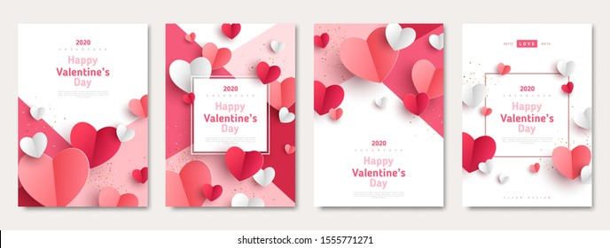 Valentine's day concept posters set. Vector illustration. 3d red and pink paper hearts with frame on geometric background. Cute love sale banners or greeting cards