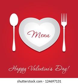 Valentine's day concept - template menu design. Vector