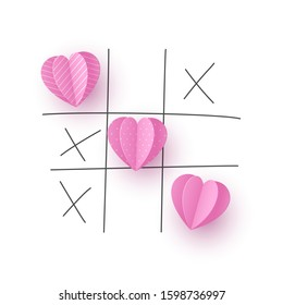 Valentine's day concept. Tic tac toe game with criss cross paper cut pink hearts and hand drawn x sign. Doodle line, white background. Vector.