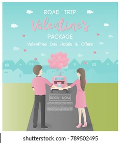 Valentine's day concept for travel advertising, Road trip tour package with lovely couple standing behind a pink vintage car with heart balloons. City on the background. Flat style vector illustration