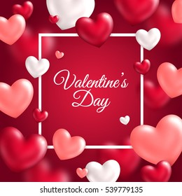 Valentine's day concept. Vector illustration. 3d white, pink and red hearts with thin square frame. Cute love banner or greeting card