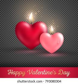 Valentine's day concept. Vector illustration. Two heart shape candles on transparent background. Beloved symbol. Burning Flame Overlay Effect
