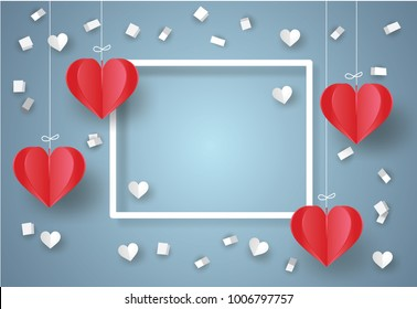 Valentine's day concept. White ribbon paper and scatter heart in the sky.Heart origami mobile. Vector illustration.Paper and craft art