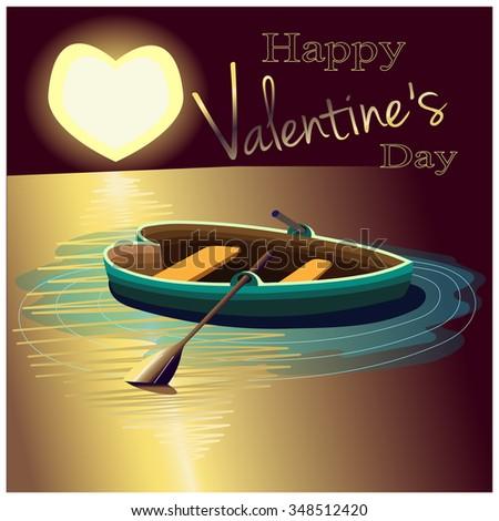 Valentines Day Congratulation Love Journey Night Stock Vector