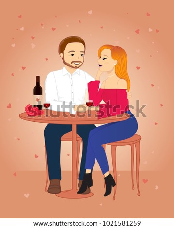 Valentines Day Couple Vector Illustration Stock Vector Royalty Free