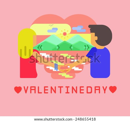 Valentines Day Couple Vector Illustration Graphic Stock Vector