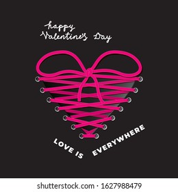 Valentines Day Creative Concept with Heart Shape Realistic Lacing Tied in Bow Symbolizing Love Between Two People and Logo Lettering - Pink on Black Background - Vector Gradient Graphic Design