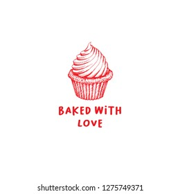 Valentines Day Cupcake Greeting Card or Poster with Sketch. Laser Cutting File Isolated on White Blackground. Vector Engraved with Lettering Wishes Love You
