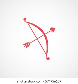 Valentines Day Cupid Bow And Arrow With Heart Red Flat Icon On White Background
