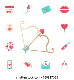 valentine's day Cupid bow and arrow. Digital vector february happy valentine's day and wedding celebration color simple flat icon set with red heart and love Vector illustration on white background