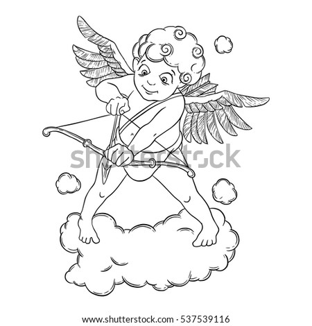 Valentines Day Cupid With A Bow And Arrow Takes Aim Vector Illustration Isolated On