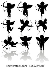 Valentine's day Cupid in different positions. Detailed vector silhouettes with optional shadows.