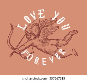 valentines day cupid drawing card.