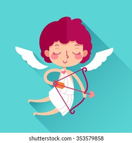 Valentine's Day cute cupid with bow. Flat icon and long shadow in vector.