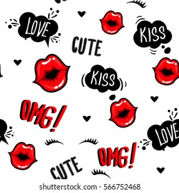 Valentines day. Cute fashion girlish seamless pattern. Romantic repeated backdrop for girls, fancy textile, clothes, wrapping paper. love background with lips kiss, cartoon comics clouds, eyelash