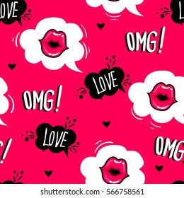 Valentines day. Cute fashion girlish seamless pattern. Romantic repeated backdrop for girls, fancy textile, clothes, wrapping paper. love background with cartoon comics speech clouds, kiss lips