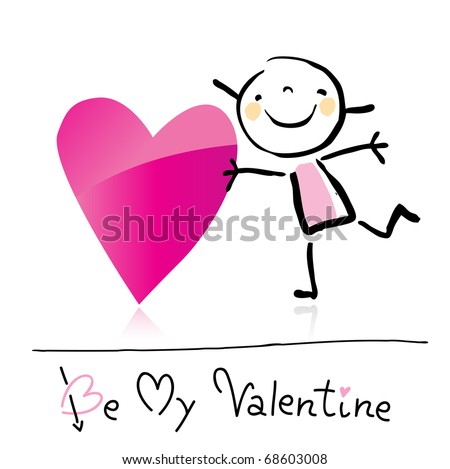 Valentines Day Cute Girl Love Holding Stock Vector Royalty Free