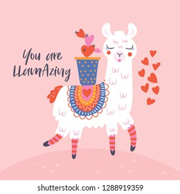 Valentine's day cute  llama greeting card.  Childish print for cards, stickers, apparel and nursery decoration