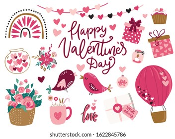 Valentine's day cute vector illustrations, floral wreath and hand drawn lettering typography set.Love birds couple, roses flowers, stickers, heart, cupcake, bouquet, gift box,air balloon, rainbow