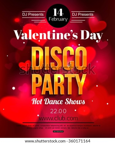 Valentines Day Dance Flyer Stock Vector Royalty Free 360171164