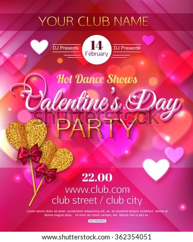 Valentines Day Dance Flyer Stock Vector Royalty Free 362354051