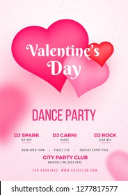 Valentine's Day dance party template or flyer design with time, date and venue details.