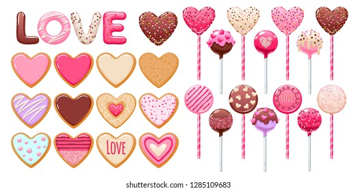 Valentine's day decorated cookies, cake pops and lollipops set vector illustration.