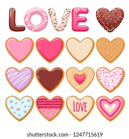 Valentine's day decorated cookies set vector illustration. Icing letters and hearts.