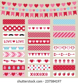 Valentines Day decoration and washi tapes, vector set