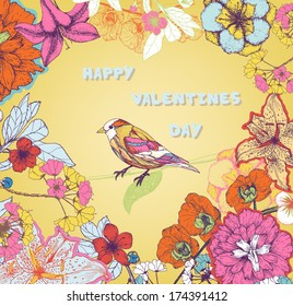 Valentine's day design element with flowers and birds